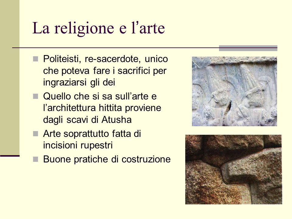 La religione e l'arte Politeisti, re-sacerdote, unico che poteva fare i sacrifici per ingraziarsi gli dei.