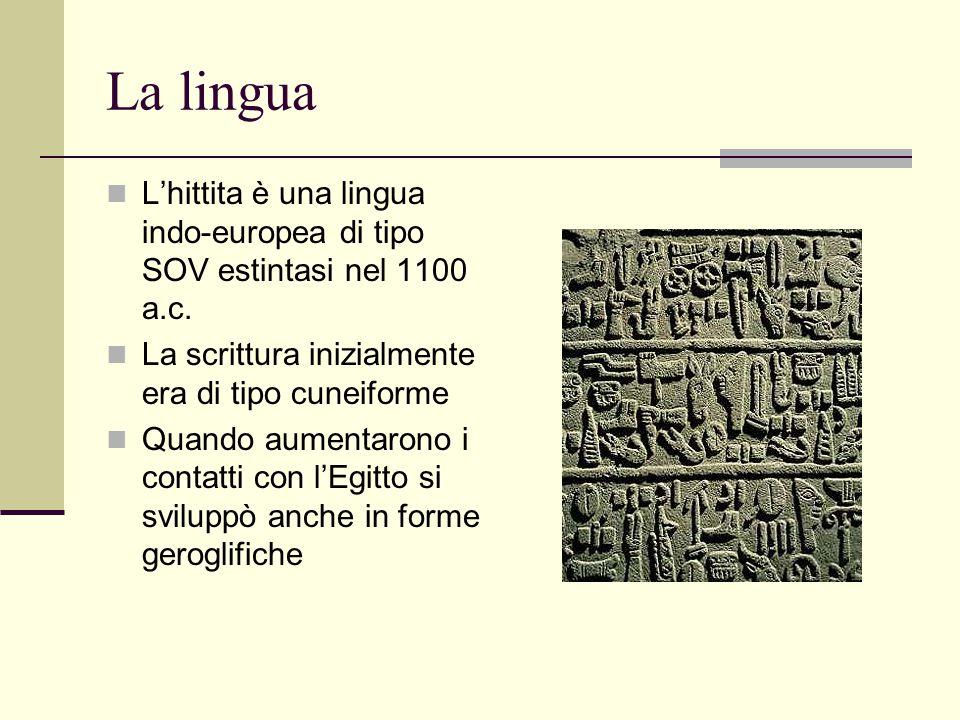 La lingua L'hittita è una lingua indo-europea di tipo SOV estintasi nel 1100 a.c. La scrittura inizialmente era di tipo cuneiforme.