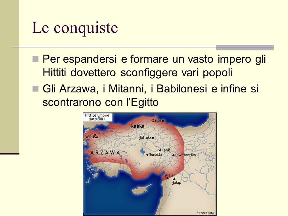 Le conquiste Per espandersi e formare un vasto impero gli Hittiti dovettero sconfiggere vari popoli.