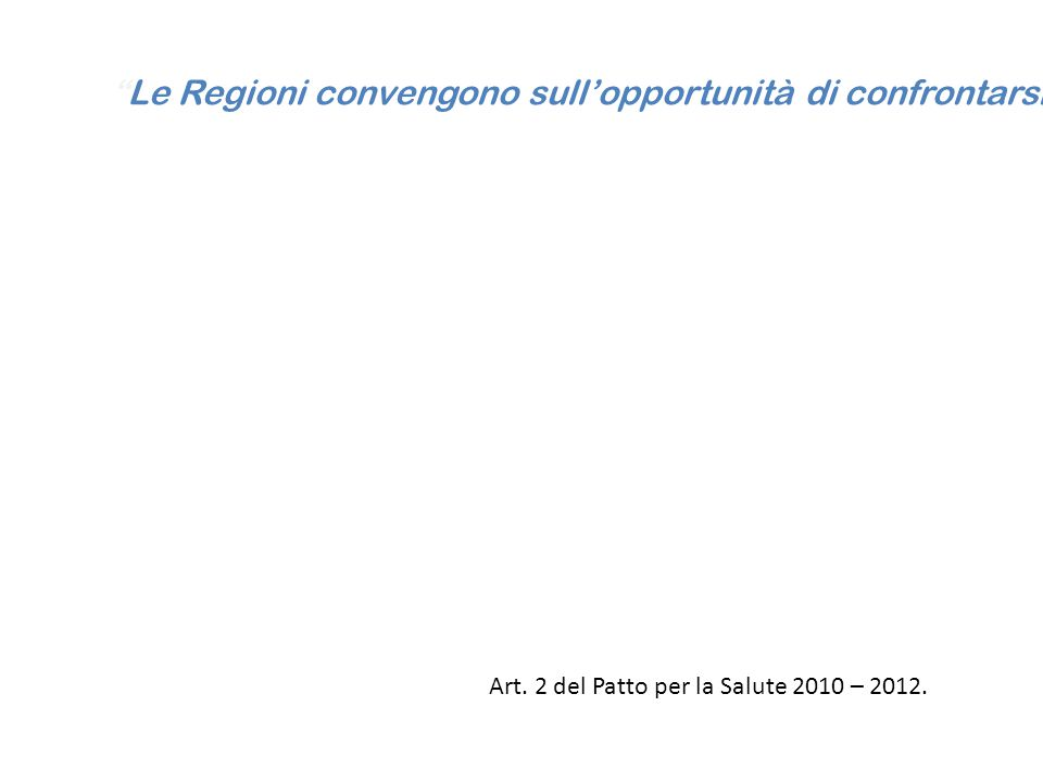 Le Regioni convengono sull'opportunità di confrontarsi, ai fini di un'autovalutazione regionale e dell'avvio di un sistema di monitoraggio dello stato dei propri servizi sanitari regionali in seno alla struttura tecnica di monitoraggio di cui all'art. 3, comma 2, su indicatori di efficienza ed appropriatezza allocativa della risorse, come specificati nel comma 2, rapportati agli indicatori di cui all'allegato 3 e correlati a valutazioni sull'erogazione dei LEA, avvalendosi anche dell'AGENAS .