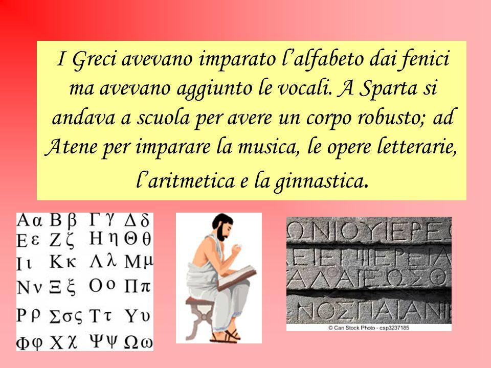 I Greci avevano imparato l'alfabeto dai fenici ma avevano aggiunto le vocali.
