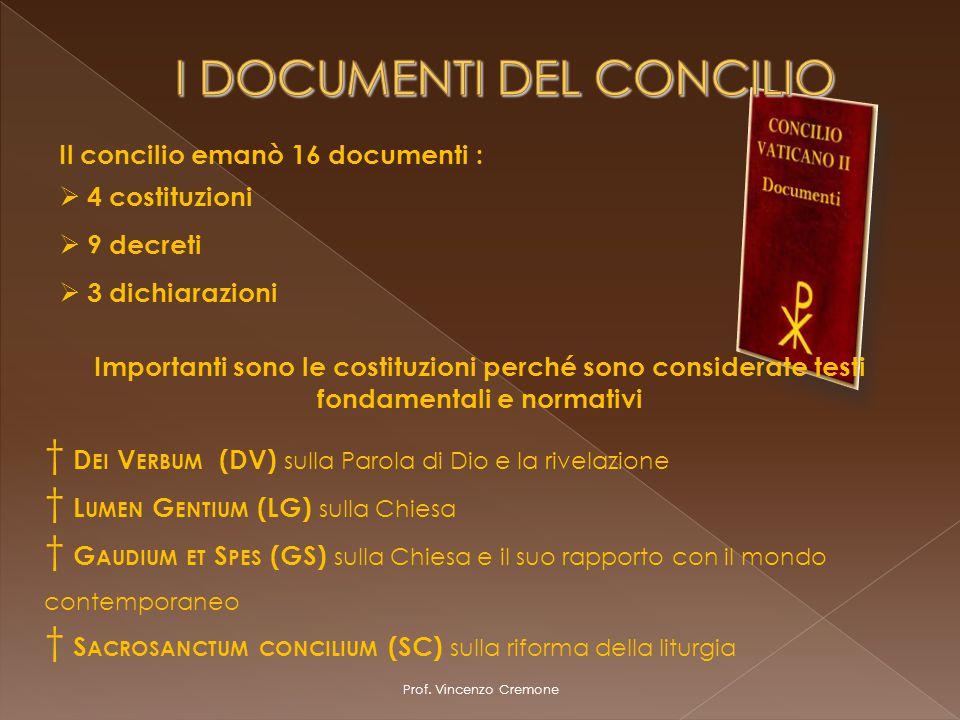 I DOCUMENTI DEL CONCILIO