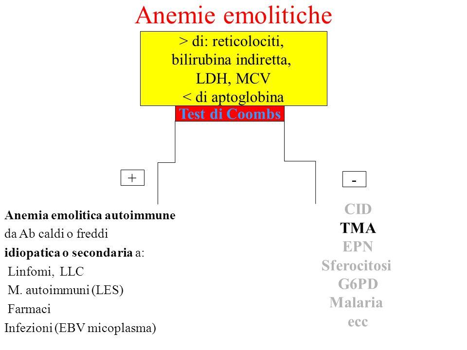 Anemie emolitiche > di: reticolociti, bilirubina indiretta,