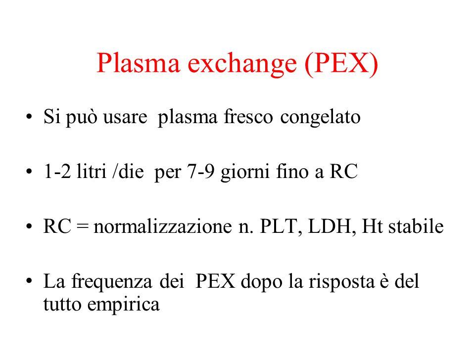 Plasma exchange (PEX) Si può usare plasma fresco congelato