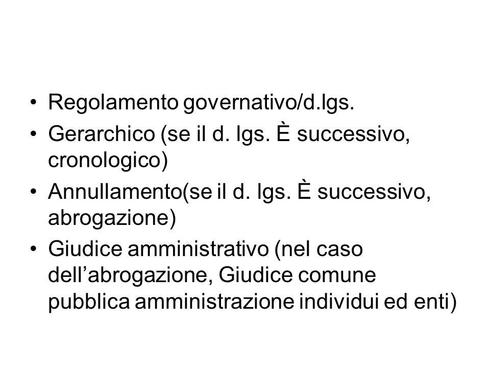 Regolamento governativo/d.lgs.