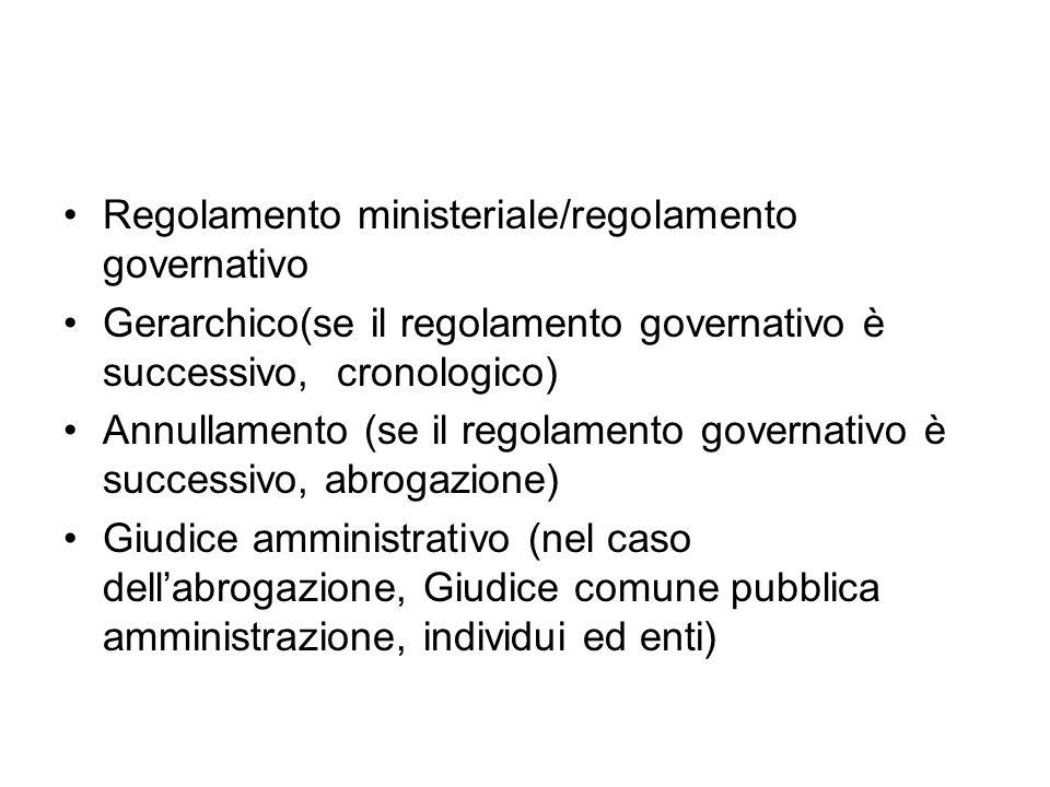 Regolamento ministeriale/regolamento governativo