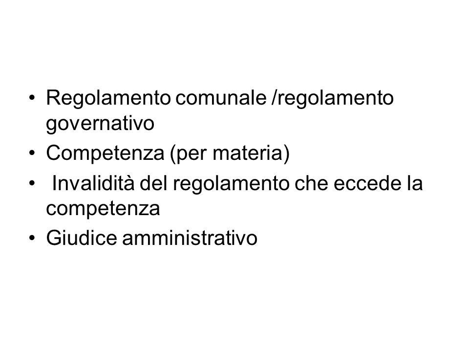 Regolamento comunale /regolamento governativo