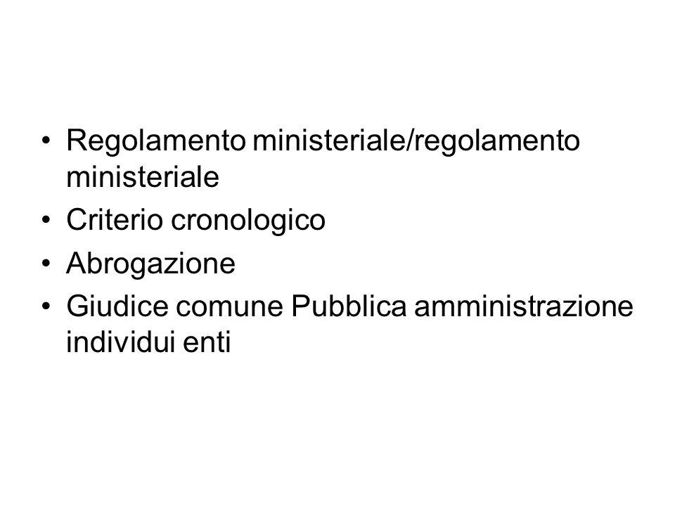 Regolamento ministeriale/regolamento ministeriale