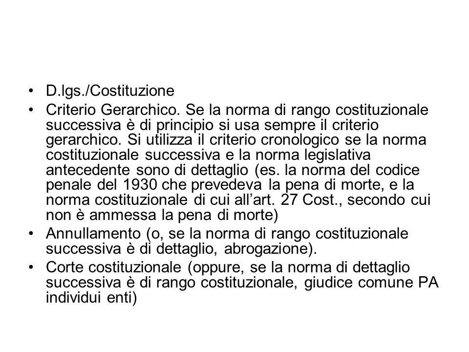 D.lgs./Costituzione