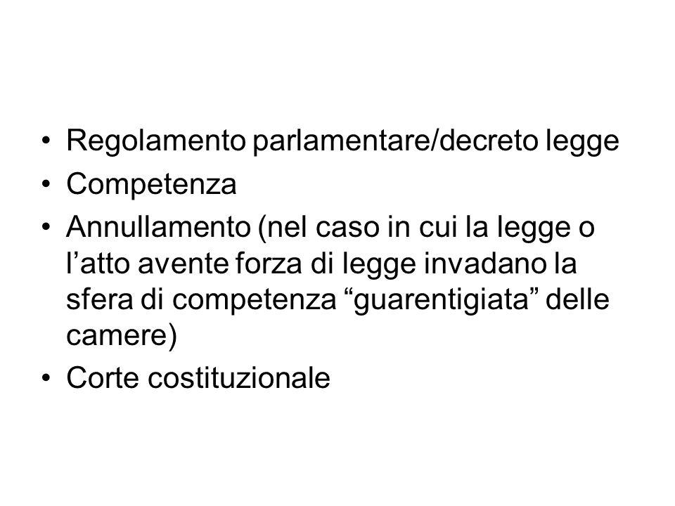 Regolamento parlamentare/decreto legge