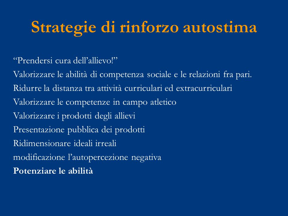 Strategie di rinforzo autostima