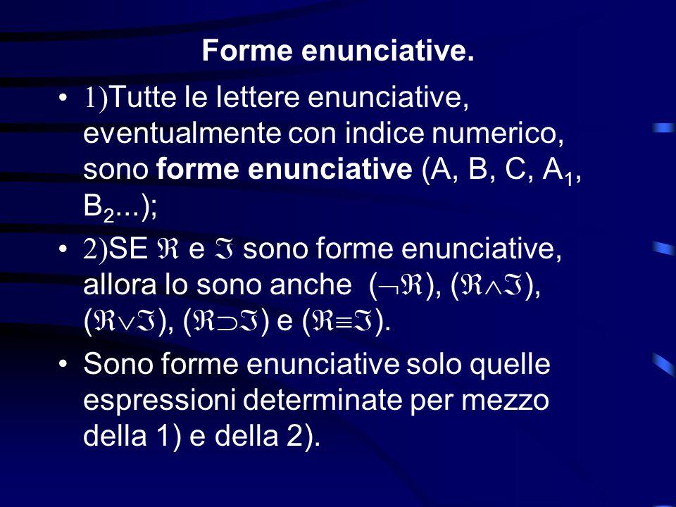 Forme enunciative. 1)Tutte le lettere enunciative, eventualmente con indice numerico, sono forme enunciative (A, B, C, A1, B2...);