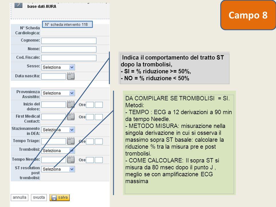 Campo 8 N° scheda intervento 118. Indica il comportamento del tratto ST dopo la trombolisi, - SI = % riduzione >= 50%, - NO = % riduzione < 50%