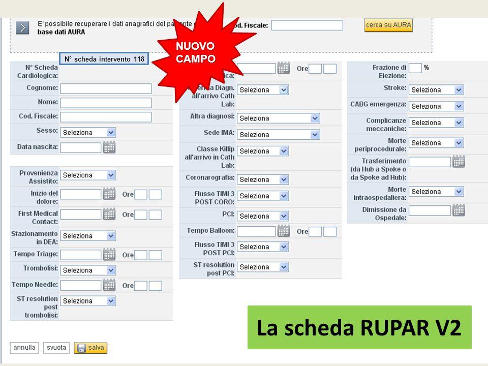 NUOVO CAMPO N° scheda intervento 118 La scheda RUPAR V2