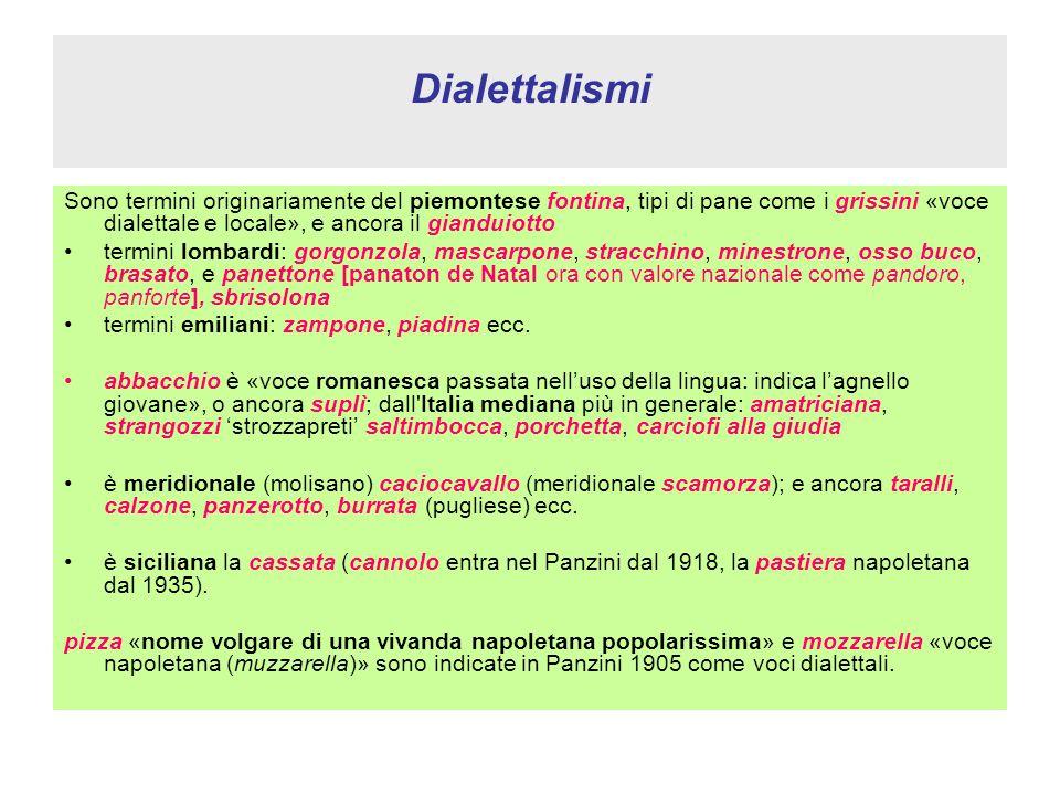 Dialettalismi Sono termini originariamente del piemontese fontina, tipi di pane come i grissini «voce dialettale e locale», e ancora il gianduiotto.