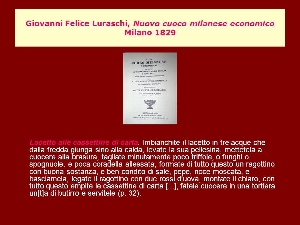 Giovanni Felice Luraschi, Nuovo cuoco milanese economico Milano 1829