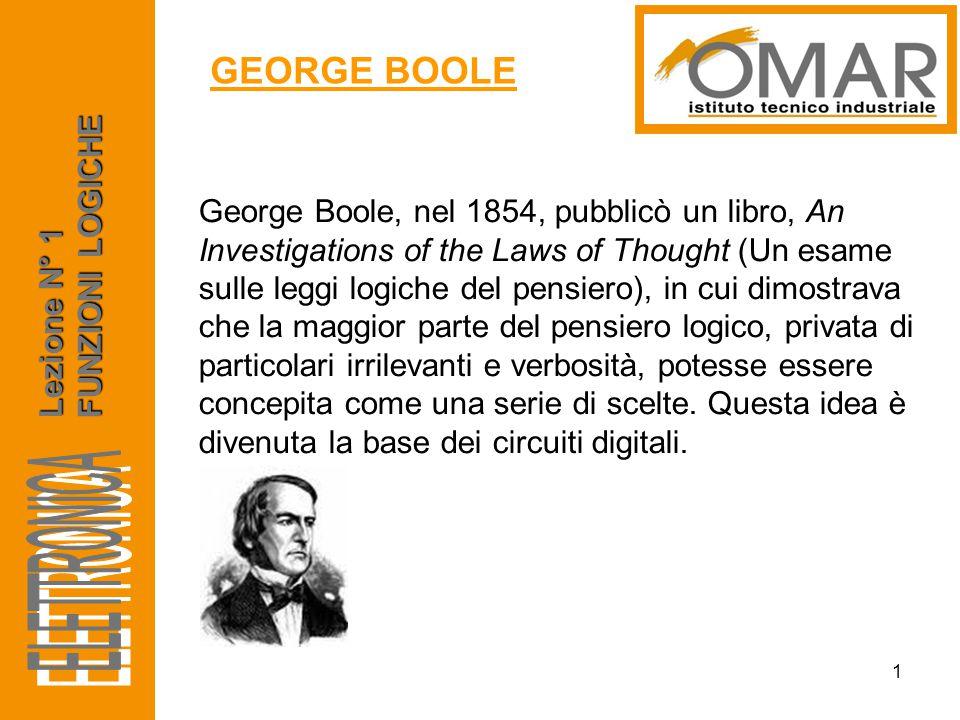 ELETTRONICA GEORGE BOOLE FUNZIONI LOGICHE Lezione N° 1