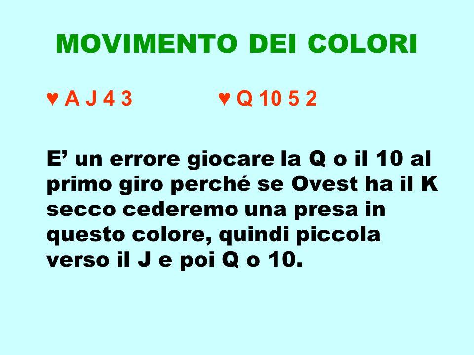 MOVIMENTO DEI COLORI ♥ A J 4 3 ♥ Q 10 5 2