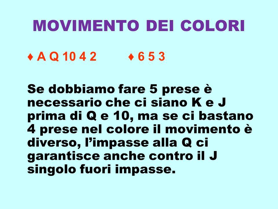 MOVIMENTO DEI COLORI ♦ A Q 10 4 2 ♦ 6 5 3