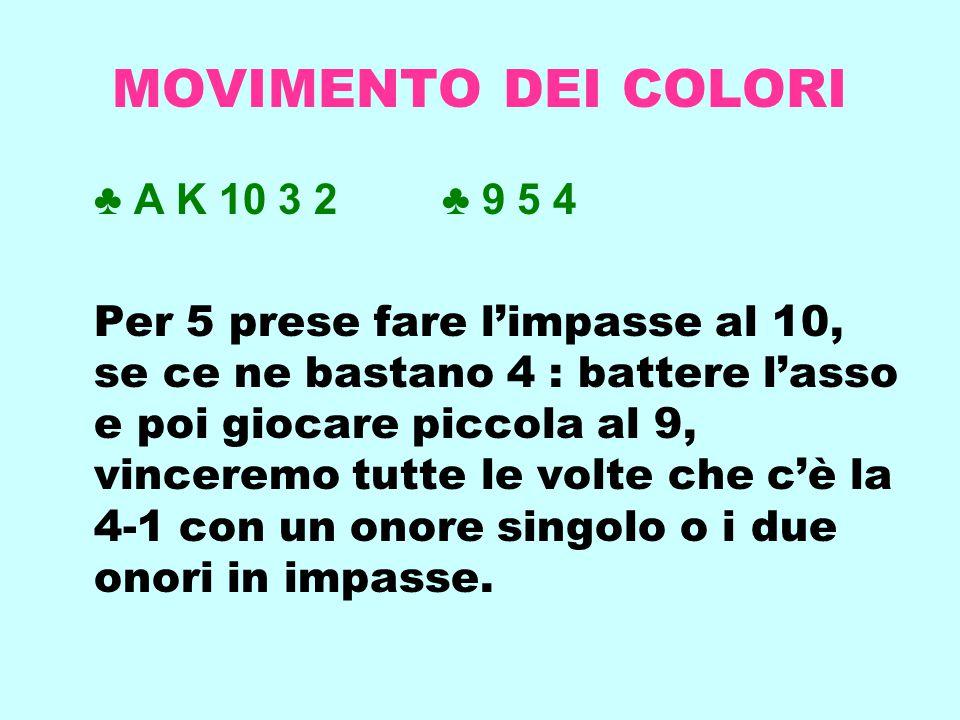 MOVIMENTO DEI COLORI ♣ A K 10 3 2 ♣ 9 5 4