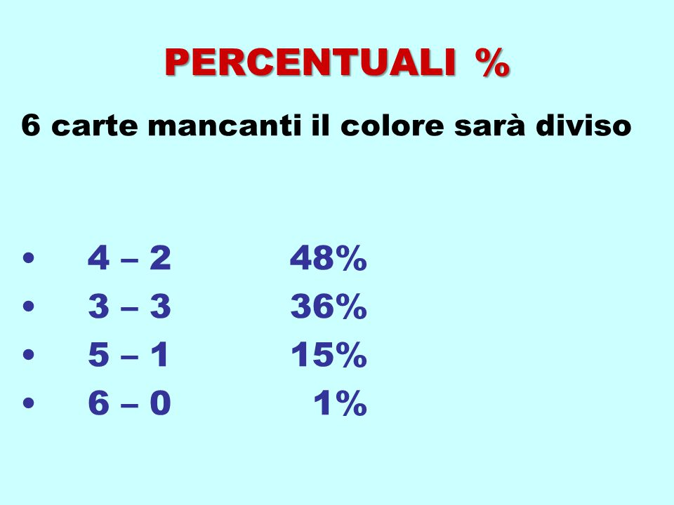 6 carte mancanti il colore sarà diviso