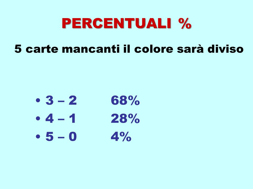 5 carte mancanti il colore sarà diviso