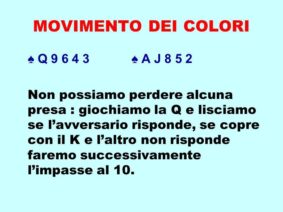 MOVIMENTO DEI COLORI ♠ Q 9 6 4 3 ♠ A J 8 5 2