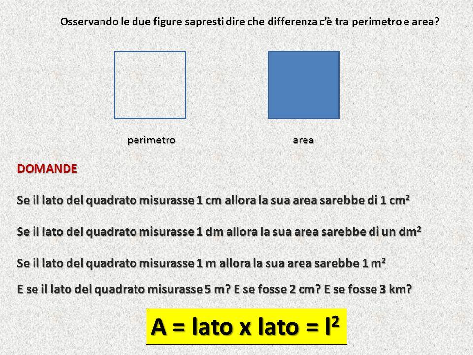 A = lato x lato = l2 DOMANDE