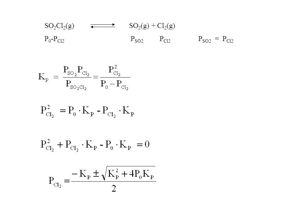 SO2Cl2(g) SO2(g) + Cl2(g) P0-PCl2 PSO2 PCl2 PSO2 = PCl2.