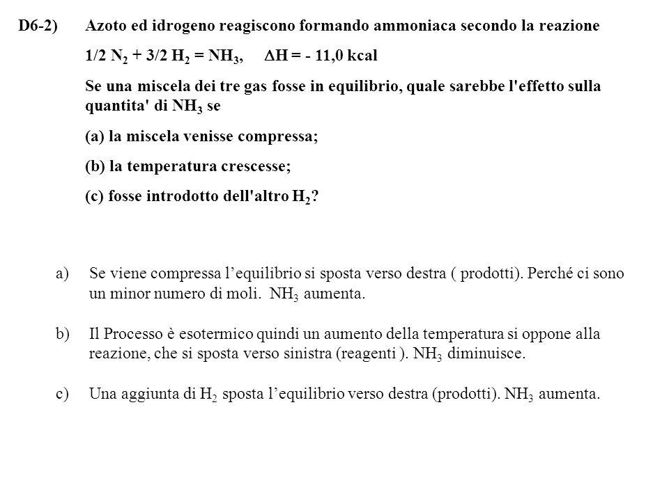 D6-2) Azoto ed idrogeno reagiscono formando ammoniaca secondo la reazione