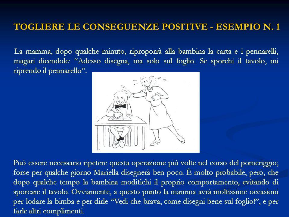 TOGLIERE LE CONSEGUENZE POSITIVE - ESEMPIO N. 1