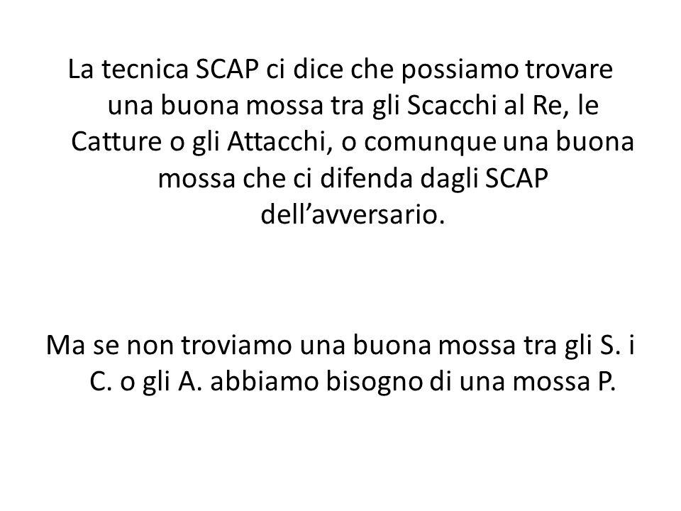 La tecnica SCAP ci dice che possiamo trovare una buona mossa tra gli Scacchi al Re, le Catture o gli Attacchi, o comunque una buona mossa che ci difenda dagli SCAP dell'avversario.