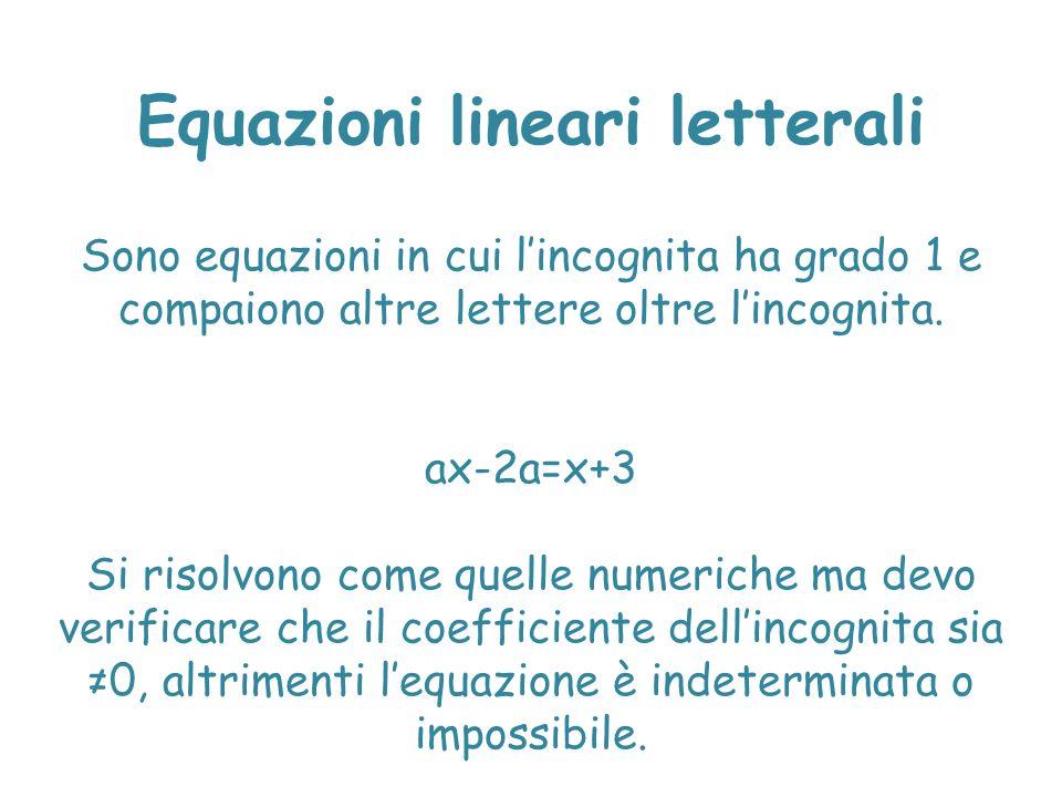 Equazioni lineari letterali