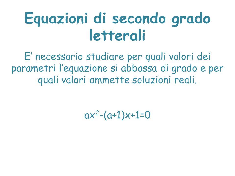 Equazioni di secondo grado letterali