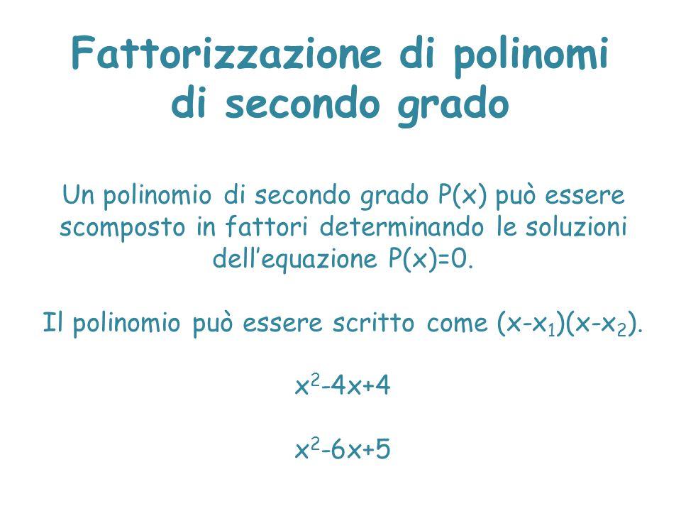 Fattorizzazione di polinomi di secondo grado
