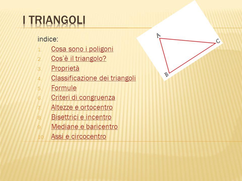 I triangoli indice: Cosa sono i poligoni Cos'è il triangolo Proprietà