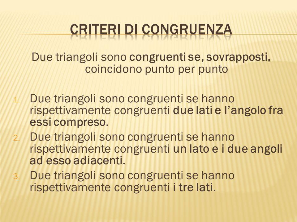Criteri di congruenza Due triangoli sono congruenti se, sovrapposti, coincidono punto per punto.