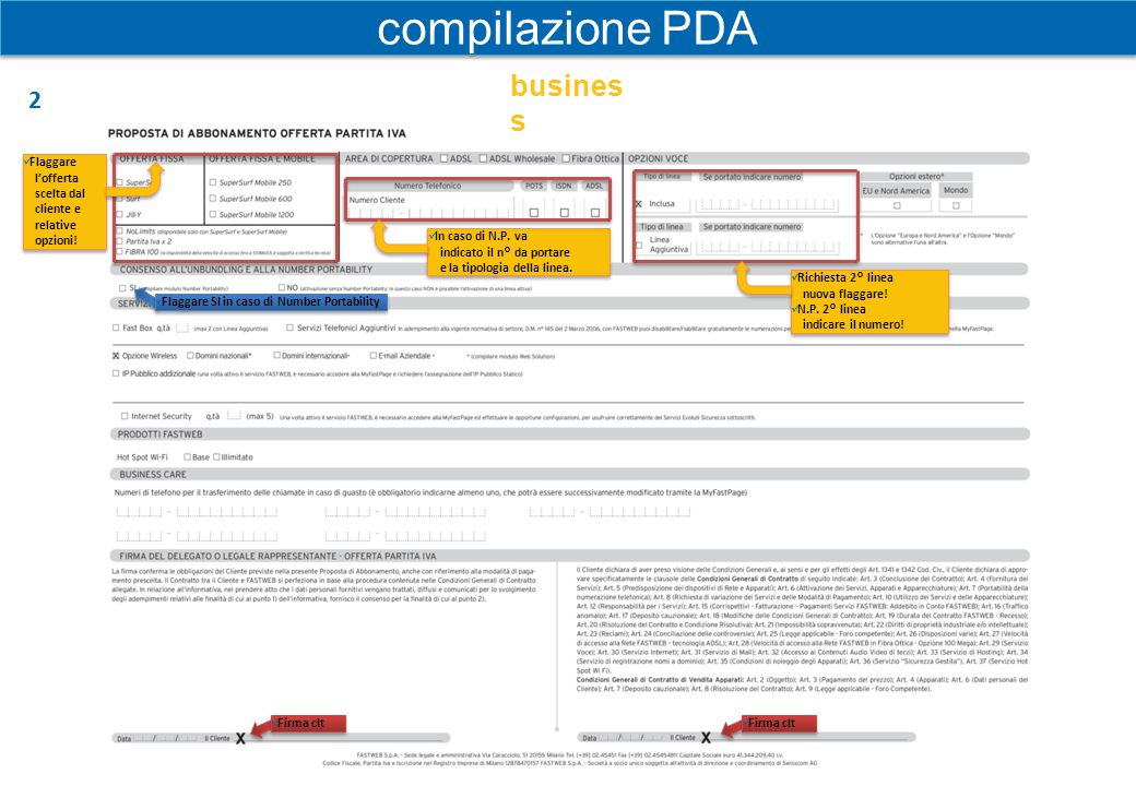compilazione PDA business 2 Flaggare l'offerta scelta dal cliente e