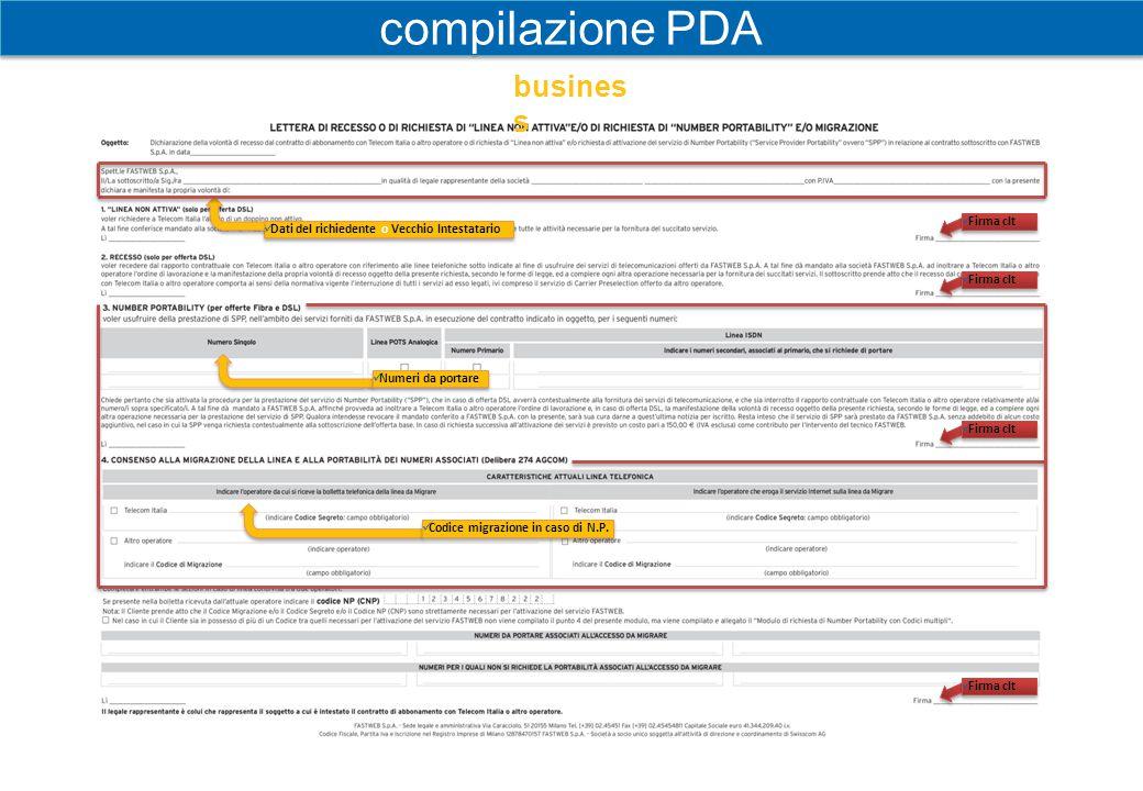 compilazione PDA business Firma clt