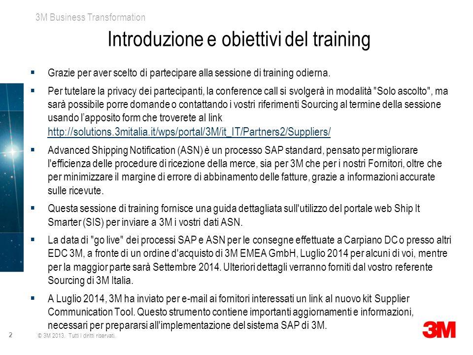 Introduzione e obiettivi del training