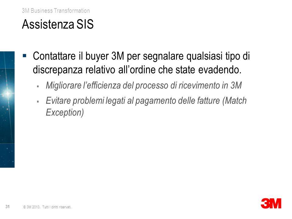 Assistenza SIS Contattare il buyer 3M per segnalare qualsiasi tipo di discrepanza relativo all'ordine che state evadendo.