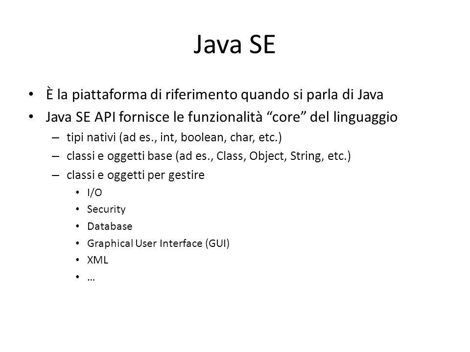 Java SE È la piattaforma di riferimento quando si parla di Java