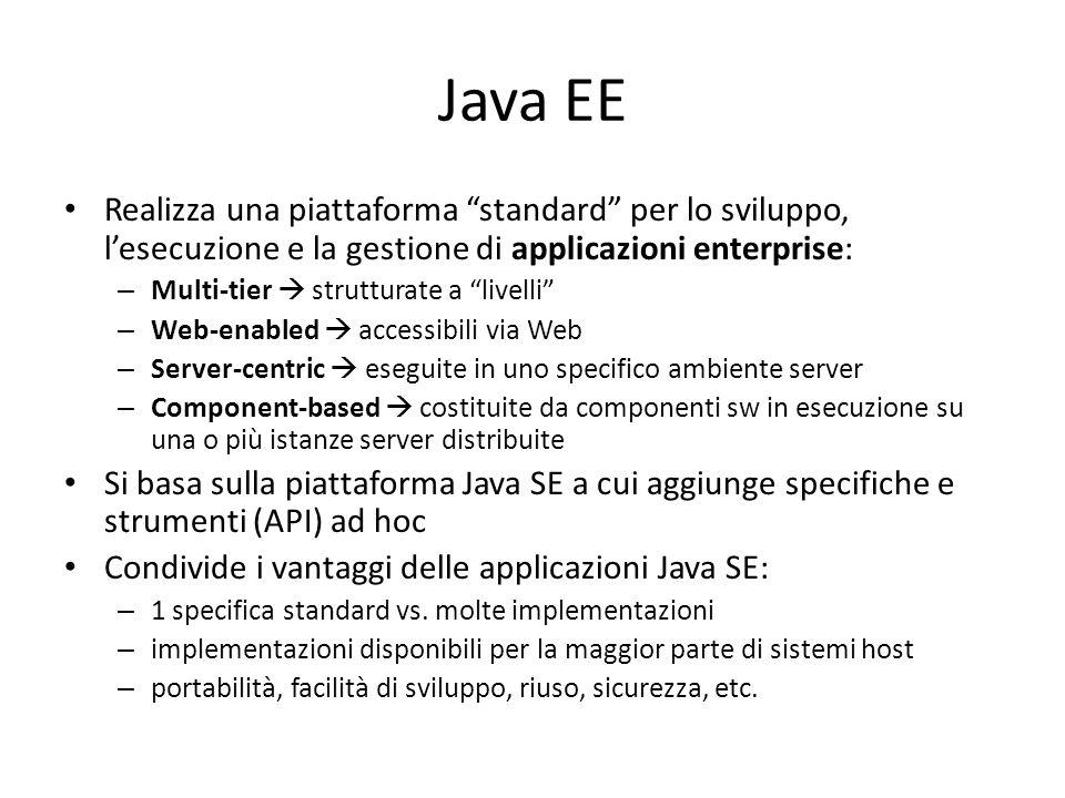 Java EE Realizza una piattaforma standard per lo sviluppo, l'esecuzione e la gestione di applicazioni enterprise: