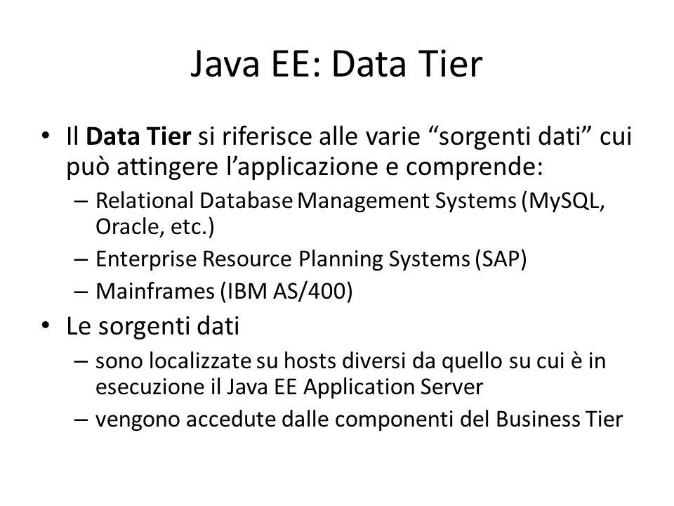 Java EE: Data Tier Il Data Tier si riferisce alle varie sorgenti dati cui può attingere l'applicazione e comprende: