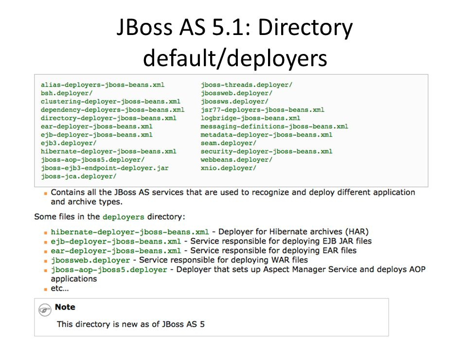 JBoss AS 5.1: Directory default/deployers