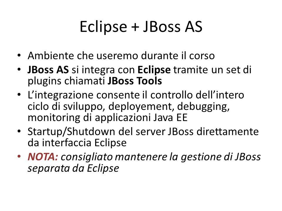 Eclipse + JBoss AS Ambiente che useremo durante il corso