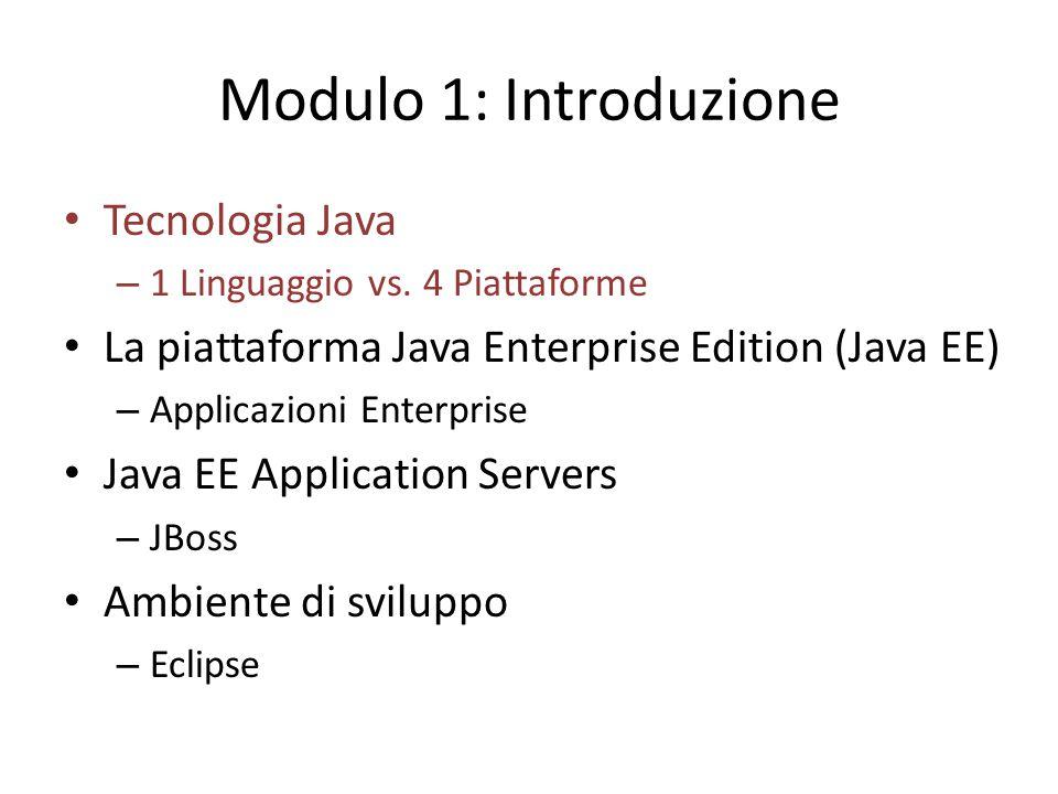 Modulo 1: Introduzione Tecnologia Java