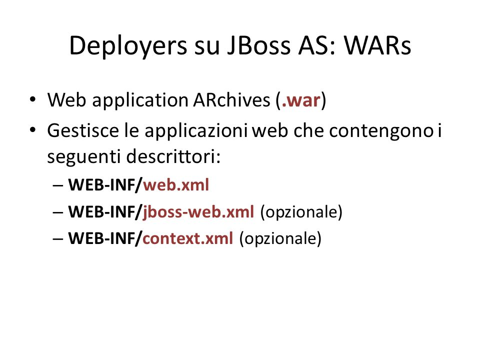 Deployers su JBoss AS: WARs