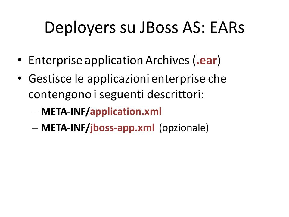 Deployers su JBoss AS: EARs