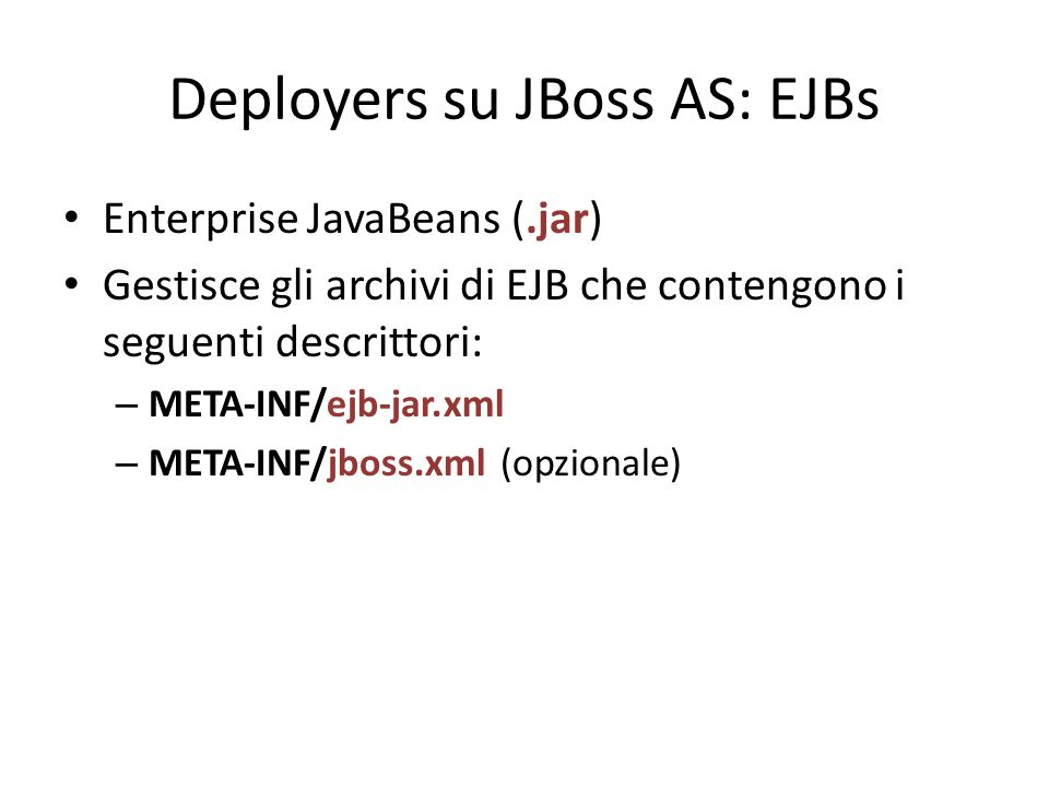 Deployers su JBoss AS: EJBs
